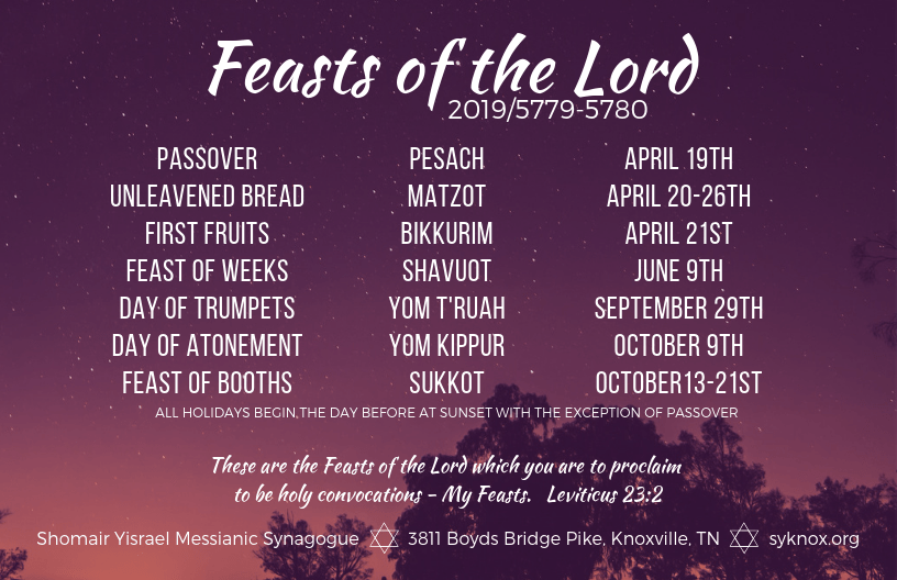 2019 Feasts of the Lord - Shomair Yisrael Messianic Synagogue